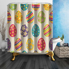 Colored Egg For Happy Easter Bathroom Shower Curtain Fabric w/12 Hooks 71*71in