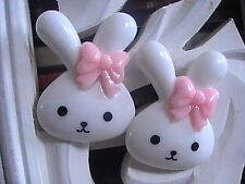 RABBIT EARRINGS BUNNY LADIES GIRLS PINK WHITE CUTE MEDIUM SIZE ANIMALS HANDMADE