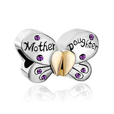 2Pcs/set Mother Daughter Butterfly Charm Spacer Beads Fit Necklace Bracelet D01