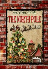 Vintage Style Welcome To The North Pole Christmas Sign Secret Santa Gift Idea
