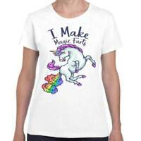 Ladies White T-Shirt Geek Retro Fun Kitsch Make Magic Rainbow Farts Unicorn
