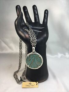 Patricia Nash Nicolina Turquoise Leather Inset Pendant Long Chain Necklace NWT