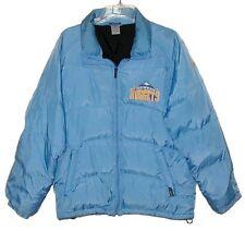 Sz M Vintage DENVER NUGGETS Down-Filled Jacket REEBOK Nylon Light Blue NBA Sewn