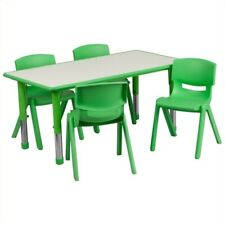 Flash Furniture Plastic Activity Table Set with 4 School Stacking Chairs in G.