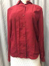 Salvatore Ferragamo Women's Button Down cherry Blouse/Shirt 100 % Silk size 10