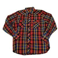 Rustler X Long Tails Mens Red Blue Yellow Plaid Pearl Snap Western Shirt Size XL