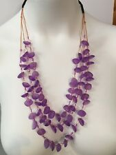 Faux Seaglass Necklace Purple - Handmade