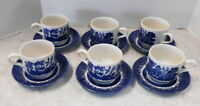 CHURCHILL ENGLAND SET OF 6 CUP AND SAUCERS BLUE WILLOW