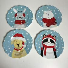 222 FIFTH WARM AND FUZZY HOLIDAY CAT DOG BEAR BUNNY CHRISTMAS SALAD PLATES SET 4