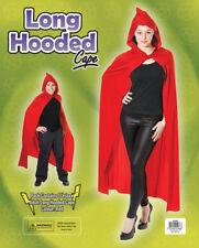 Deluxe Red Hooded Long Cloak Cape Long Vampire Halloween Ladies Mens Fancy Dress
