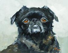 Original Oil painting - portrait of a pug dog  - by j payne