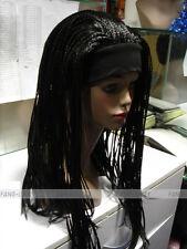 Excellent Black Long unique Man-made braids 3/4 half wig with headband FTLG014