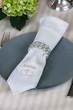 4 Servietten, mit Namen bestickt - Damast - Hochzeit 50x50cm
