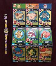 Pikachu Children's Wristwatch and 1999 Burger King Pokemon Movie 9-Card Sheet #9