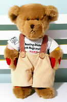 RUFUS THE BEAR WITH  DIABETES RUSS BERRIE TEDDY BEAR 40CM OVERALLS XOXO SHIRT