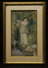 Antique American Watercolor on Paper Beautiful Young Girl Washing Clothes