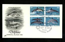 Postal History Us Marshall Islands Fdc #54-57 Dolphins Sea Life 1984 Artcraft