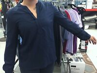 NEW Tommy Hilfiger Masters Navy Women's V-Neck Long Sleeve Shirt/Blouse