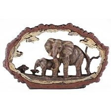 "Elephant Scene Faux Carved Wood Look Bark Frame Figurine Resin 7.75"" Long New"