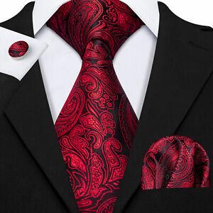 Red Black Floral Paisley Silk Mens Tie Necktie Pocket Square Cufflinks Set Wedd
