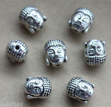 10 pcs Tibetan silver Buddha head spacer Loose Beads Bracelets Charms Findings