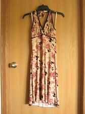 Charlotte Russe Beige Floral Print Halter Top Dress Size Small