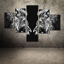 5PCS Canvas Print Home Decor Wall Art Animal Lion Head Painting Picture Unframed