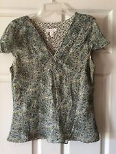 Charter Club Blouse Size 10 V-neck 100% Silk With Polyester Lining