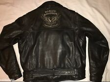 Harley Davidson Mens Classic Style H-D Black V Twin Tribal Leather Jacket L Rare