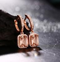 4.75Ct Emerald Cut Morganite Drop & Dangle Earrings Solid 14K Rose Gold Finish