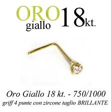 Piercing naso nose  ORO GIALLO 18kt. griff con CUBIC ZIRCONIA yellow GOLD 18kt.