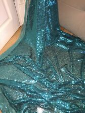 "1 MTR TURQUOISE GREEN ALL OVER SEQUIN TULLE BRIDAL FABRIC..58"" WIDE"