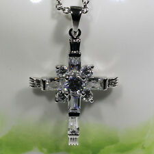 18K White Gold Filled Women Fashion Jewelry Necklace Unique Cross Pendant P3281