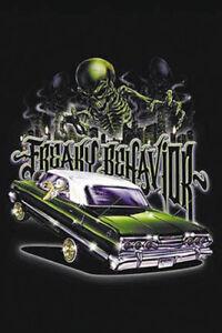 """Freaky Behavior"" Lowrider Hydraulic Car Skeleton City Urban Street Art Poster"