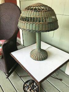 "victorian original wicker table lamp original green paint 23"" high 16"" wide WOW"