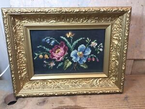 Vintage Floral Needlework In Gold Gesso Wooden Shadow Box Picture Frame 10x13