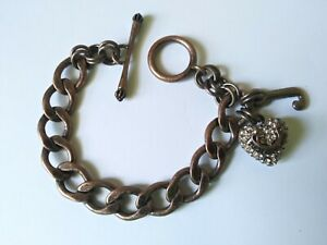 Juicy Couture Silver Tone Logo Puffy Heart Chunky Toggle Charm Bracelet