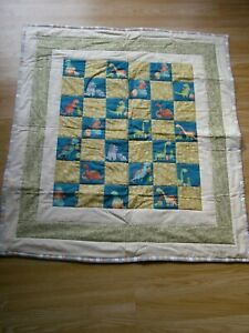 HANDMADE QUILTED PATCHWORK BABY QUILT COT / PRAM BABY DINOSAURS