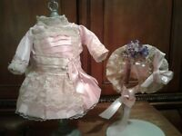 "15""  ANTIQUE PINK  SILK  DOLL DRESS & HAT  BRU  KESTNER  JUMEAU  BEBE STEINER"
