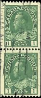 1915-24 Used Canada PAIR 1c F-VF Scott #131 Admiral KGV Coil Stamps