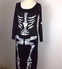 Vestido esqueleto UK 12 Negro de huesos largos de Halloween vestido elegante Conjunto Disfraz