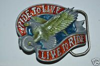 Vintage Live To Ride Ride To Live Motorcycle Biker Belt Buckle MINTY