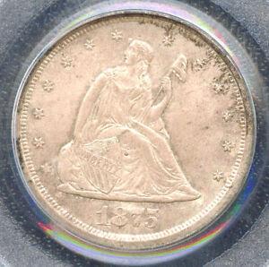 1875-S 20C MS65 PCGS - ONLY 74 IN HIGHER GRADE-TWENTY CENTS