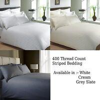 400 Thread Count CLASSIC STRIPE Pure 100% Egyptian Cotton Bedding White or Cream