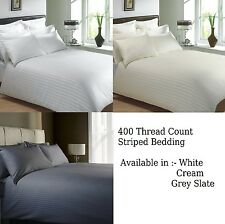 400 Thread Count Classic Stripe Pure 100 Egyptian Cotton Bedding White or Cream Duvet Cover Grey Slate King