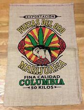 EXPORT OF COLUMBIA PUNTAS DEL ORO MARIJUANA POT WEED 50 KILOS BURLAP SACK BAG