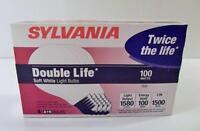 NOS 4 Pack SYLVANIA 100W DOUBLE LIFE Soft White Light Bulbs,1500 Hrs Per Bulb