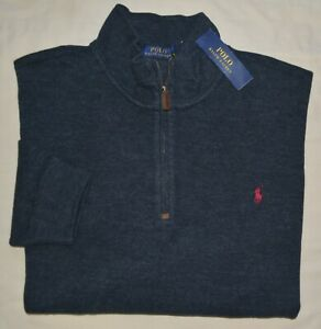 New XXL POLO RALPH LAUREN Mens half zip sweatshirt top 2XL charcoal gray jumper