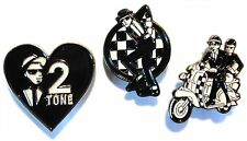 MOD Scooterist Enamel Badge Set Love 2 Tone, Ska Couple On Scooter & Dancing Man
