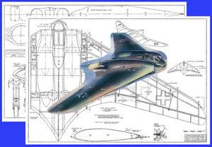 "Model Airplane Plans (RC): HORTON Ho IX V3/Go229 83"" Scale Power or Slope Glider"